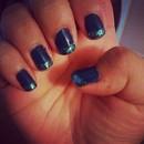 Navy blue glitter tips