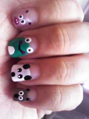 I made this pretty cute style with brown, green, pink, black and white polish. for the eyes and mouth I used dotting tools :) ENJOY IT <3