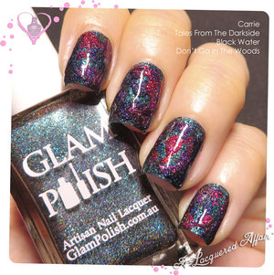 Mishmash nail art of the 4 polishes from the 2 Glam Polish limited edition Halloween duo sets; Gruesome Movie Duo (sold out) and Dark Terror, exclusively available at http://meimeisignatures.com
