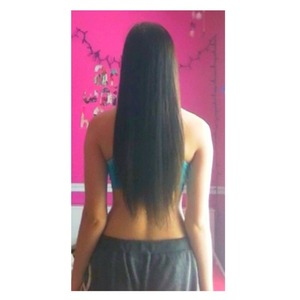 My hair how I usually wear it, straight. I don't wear extensions!