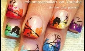 rainbow LOVE BIRDS robin moses nail art design tutorial 758