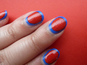 A border manicure using acrylic paints. For more pictures, got to http://nailsbystephanie.blogspot.com/2012/05/trend-2012tutorial-border-nails.html