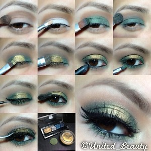 here is another #pictorial i hope you learn something, thanks eveyone for your support! 😘 Steps: 1⃣I start with a primer and add a soft brown on the crease with a blending brush. 2⃣I add a white base Nyx jumbo pencil in milk with a small concealer brush on the lid keep it under the crease. 3⃣with a green shadow and a flat brush tap the green all over the white. 4⃣With the same blending brush i use to add the brown i blend the two colors together and soft the edges. 5⃣with a small flat brush i tap a cream shadow color tattoo from maybelline in gold rush. 6⃣With a shadow brush i set the cream eyeshadow with a gold eyeshadow from my maybelline quad. 7⃣black liner on waterline 8⃣With a small pencil brush apply the same green eyeshadow under the eye close to the waterline 9⃣ i did a simple wing eye liner 🔟curl the lashes add some mascara and add fake lashes and....🙈💥 you're done! 👸 WHAT I USE⬇⬇⬇⬇ maybelline quad Single green shadow (I dont know the name for this eyeshadow sorry 😞) Color tattoo in gold rush nyx jumbo pencil in milk brushes from costal scents and elf cosmetics