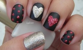 Valentine's Day Nail Art - Sparkly Hearts on Black Matte