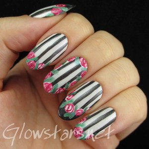 Read the blog post at http://glowstars.net/lacquer-obsession/2014/10/the-digit-al-dozen-does-florals-roses-stripes-and-french-tips/