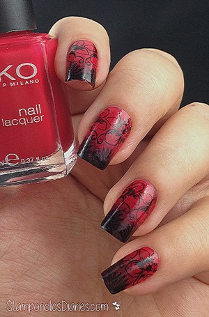 http://stampoholicsdiaries.com/2014/12/29/kiko-362-poppy-red-essence-fatal-and-stamping-with-moyou-tropical-collection-02/
