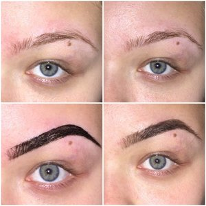 1. Unplucked eyebrow 2. Plucked and shaped brow 3. Black hair tinting gel on my eyebrow in shape I want it (only for 10 minutes)  4. Final product.
