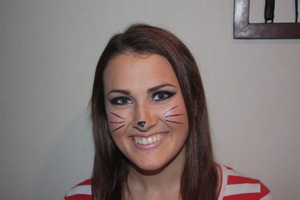 I did a cateye makeup, and added some whiskers and a cat nose just for fun :)