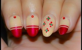 Dot Flowers and Red Tips Nail Art Tutorial