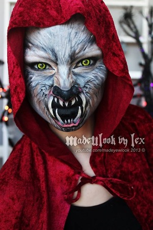 My take on little red actually being the wolf! Check out the video tutorial for this on my youtube channel, madeyewlook! Video will be uploaded on 10/12/13