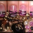 glitter zebra nails.