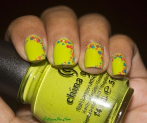 Neon bright with China Glaze Def Defying from the Cirque Du Soleil collection 2012 http://www.bellezzabee.com/2013/01/def-defying-dotticure.html