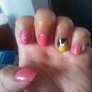 Pink nails + Bicolor nail with paillette