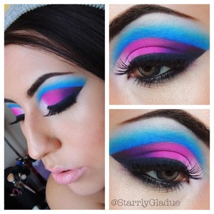 Colors used: Sugarpill Cosmetics Tako (white), Dollipop (pink), Poison Plum (purple) & MAC Cosmetics Carbon (black) on the lid.. with NYX Cosmetics Electric Blue pencil liner to cut the crease, and Anastasia Beverly Hills Electric Blue hypercolor blended over top.  Check out Makeup by Starrly on facebook <3