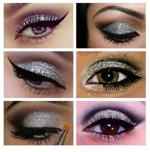 Silver glitter with a smokey eye or just a wing looks beautiful.