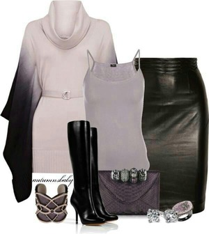Love the sleeves on the to an the leather skirt
