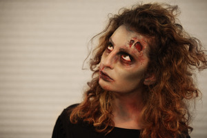 A Zombie Look I did using no special f/x products: SCAB/SCARS- Tissue/Toilet paper, BLOOD- lipgloss and creme makeup.