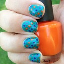 Stamped and dotted nails w/ orange