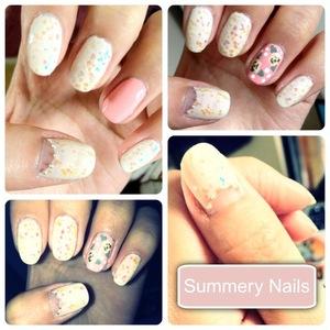 Simple & Sweet Summery nails! www.kakabeautyblog.com