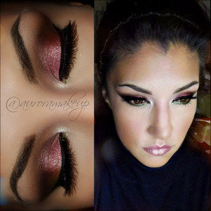 instagram @auroramakeup FB: https://www.facebook.com/AuroraAmorPorElMaquillaje   Eye Shadow base by @motivescosmetics Brows made with Brow Fix, Brow Powder in BRUNETTE by @anastasiabeverlyhills  Pressed Eye shadow in WHIPPEd CREAM by @motivescosmetics to highlight brow bone   Eye shadow in CREAM and ORANGE SODA into LAVISH palette by @anastasiabeverlyhills as transition color   Eye Shadow in NAKED #adaraparis by @houseofbeautymx  to mark the socket line and outer corner of the eye  Eye shadows ANTIQUE, RUM CAKE and PINK SAPPHIRE into LAVISH palette by @anastasiabeverlyhills together on mobile eyelid  Mini Covet Waterproof Eyeliner in BLACK into LAVISH palette to line top lashes  Lashes are 2 pairs of VEGAS BABE by @nyxcosmetics  Eye shadow MOSS into LAVISH palette to line below lower lashes  Glitter Eyeliner in GOLd DIGGER by @motivescosmetics on inner corner (lower part)  Glitter Pot in KARMA by @motivescosmetics  above the Glitter eyeliner to have more sparkles =)  Lala Mineral Volumizing & Lengthening macara in BLACK by @motivescosmetics in top and lower lashes  Mineral Lipstick in AWARE and Lip Shine in PASSION in the top ,both  by @motivescosmetics   On my checks I uses Blushes Adara palette by @houseofbeautymx , orange and neutral pink tones