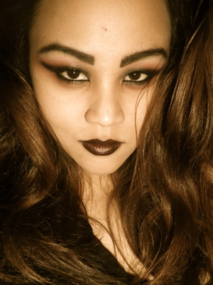 Black Cream Eyeliner + Dark red Lipstick= DIY Black Lipstick