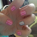 Pink Candy Stripes with Glitter