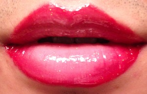 My third Ombre lip (really having fun doing these) with a red outside and center nude highlight.