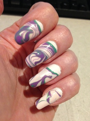 My first completed manicure using water marbling.