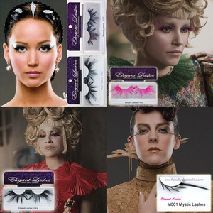 So honored to have our lashes be a part of both incredible Hunger Games movies. Lashes are all Elegant Lashes available on my site, www.FalseEyelashesSite.com F147 Feather Lashes (Katniss, top left) F404 Feather Lashes (Effie Trinket, top right) F404 Feather Lashes (Effie Trinket, bottom left) M061 Mystic Lashses (Johanna Mason, bottom right)