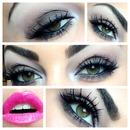 Classic smoky eye with pink lips