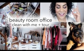 BEAUTY ROOM OFFICE TOUR + CLEAN WITH ME | queencarlene vlogs