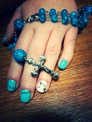 Made some Rosary beads for my grandmother and designed my nails to match them  www.facebook.com/hairmakeupandnailsbyashley