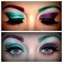 Green and purple eye design