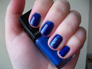Illamasqua Force nail polish with OPI Last Friday Night glitter accent nail.  To read my review of the polish please visit my blog:  www.mazmakeup.blogspot.com