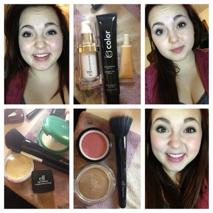 I basically just use two tinted moisturizers, lighter on on the center of my face and the darker around the outsides. I use elfs corrective yellow fun under my eyes and any blemishes and I set my under eye concealer with elfs high definition under eye setting powder and set the rest with a pressed powder. I used elfs healthy glow bronzer in warm tan to add depth and just a dark pink blush an applied those with elfs stippling brush for natural look!!