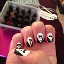 my first attempt at tuxedo nails!