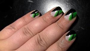 Nails: Using LA Colors Art Deco polish in White, Bright Green, and Black