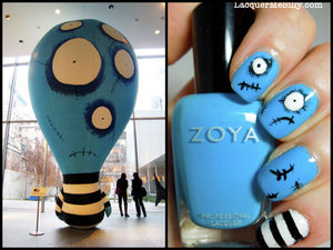 This is a mani I did based on a giant blow up creature I loved during my visit to the Tim Burton exhibit at the MoMa a few years back. 