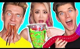 SOUREST GUMMY VS REAL FOOD SMOOTHIE CHALLENGE! Giant Gross Worm Toxic Waste! Wengie & Collins Key