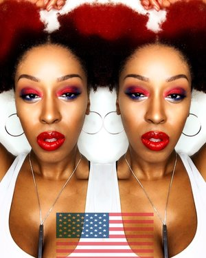 🇺🇸Patriotic🇺🇸 @Maybelline Fit Me foundation in 332  and Vivid Matte lips in Fiery Red,  @bhcosmetics 1st edition eyeshadow palette , @bennyecosmetics highlight in banana shimmer. Hair @yanicareproducts everyday hair serum to moisturize my dry 4c hair and @cantubeauty coconut curling cream to soften the ends of my hair into these easy Afro puffs. #redwhiteandblue #4thofjuly #afropuffs #blue #red #naturalrootsista #vividmatte #maybelline #maccosmetics #bhcosmetics #cantu #yanicareproducts #morphebrushes #afro #afropunk #returnofthecurls2 #womenofcolor #formation #kinky_chicks1 #myhaircrush #realtechniques #benaturallychic #4chairchicks #dallasmua #houstonmua #mua #makeup #makeupartist #entrepreneur #artist #photography #teamnatural_ #naturallyshesdope #nyxcosmetics #undiscovered_muas #lookoftheday #harjessi #naturalhairchat