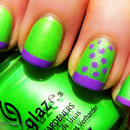 Neon green and purple nails