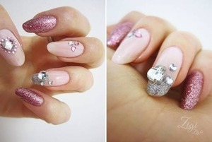 Love these pink glitter and bling nails