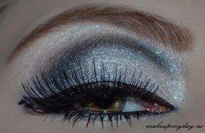False Eyelashes: Ardell 105 Mascara: Isadora Precision Eyeliner pen:  Isadora flex tip eyeliner Eyeliner: Isadora black Eyeshadow: Isadora: Eye shadow trio Purple wain. Sephora: Wedding day