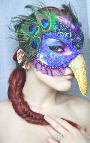 """Handmade mask - ''Peacock'' // """"At 20 a man is a peacock, at 30 a lion, at 40 a camel, at 50 a serpent, at 60 a dog, at 70 an ape, and at 80 nothing."""" - Baltasar Gracian"""