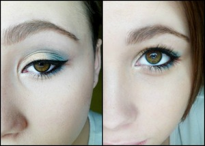 Beautiful eye look with teal & gold for a spring pop!
