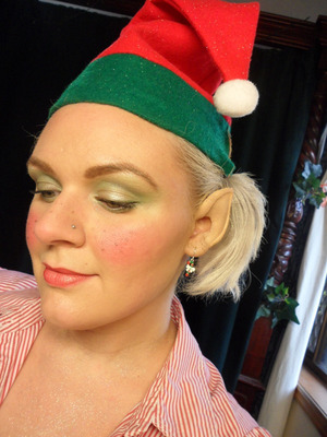 Christmas Elf. My Christmas Eve look [for work]. Foam prosthetic ear application. ((Not bad for my 2nd ever attempt at applying a foam prosthetic))