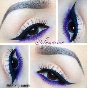 Create a blank kid with a very light brown in the crease to give dementia. Next wing your eye liner out! Don't be afraid to go bold! Next take your darkest purple and line your lower lash line, then blend that baby out like no tomorrow. Take your time with blending, it will pay off. After all the blending, take your light purple and bring that to the dark purple, over lap the two color so you don't get raccoon eyes. Next, mascara and then you have your completed look.  :)