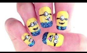 "Glittery 3D ""Despicable Me 2"" inspired nail tutorial"
