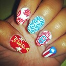 Puerto Rican Pride Nails