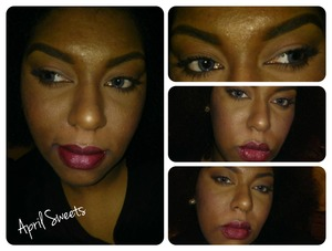 Neutral eyes with wine colored lips Lipstick was Nicka K brand.